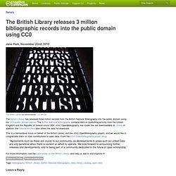 The British Library releases 3 million bibliographic records into the public domain using CC0