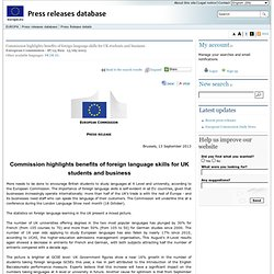 PRESS RELEASES - Press release - Commission highlights benefits of foreign language skills for UK students and business