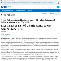 EPA Releases List of Disinfectants to Use Against COVID-19