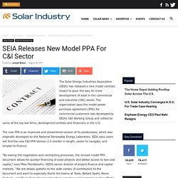 SEIA Releases New Model PPA For C&I Sector - Solar Industry