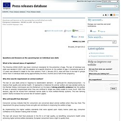 EUROPE 26/04/12 Questions and Answers on the upcoming ban on individual sow stalls