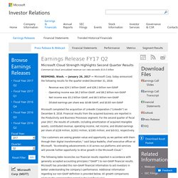 FY17 Q2 - Press Releases - Investor Relations - Microsoft