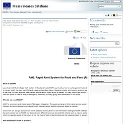 EUROPE 20/07/12 FAQ: Rapid Alert System for Food and Feed (RASFF) - role and achievements