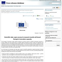 PRESS RELEASES - Press release - Scientific data: open access to research results will boost Europe's innovation capacity