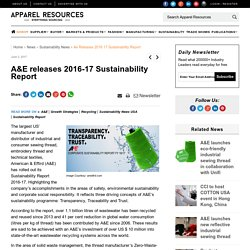 A&E releases 2016-17 Sustainability Report