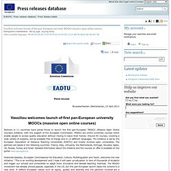 Vassiliou welcomes launch of first pan-European university MOOCs (massive open online courses)