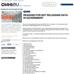 Reasons for not releasing data in government » Article » OWNI.eu, Digital Journalism