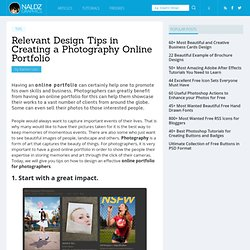 Relevant Design Tips in Creating a Photography Online Portfolio