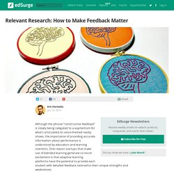 Relevant Research: How to Make Feedback Matter