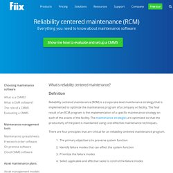 Reliability Centered Maintenance (RCM) Planning