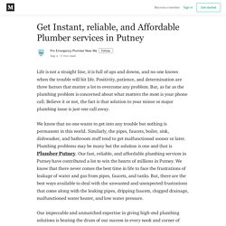 Get Instant, reliable, and Affordable Plumber services in Putney