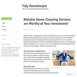 Reliable Home Cleaning Services are Worthy of Your Investment! – Tidy Homekeeper