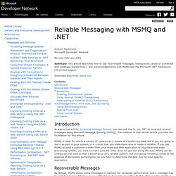 Reliable Messaging with MSMQ and .NET