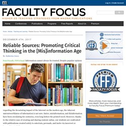 Reliable Sources: Promoting Critical Thinking in the [Mis]information Age