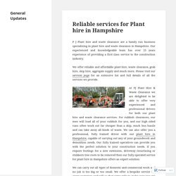 Reliable services for Plant hire in Hampshire – General Updates