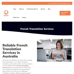 Reliable French Translation Services Australia
