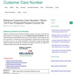 Rcom Toll Free Postpaid/Prepaid Contact No