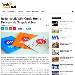 Jio SIM Cards Home Delivery via Snapdeal