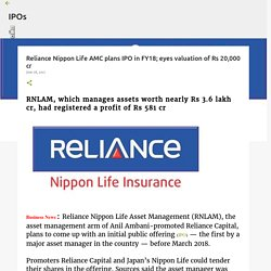 Reliance Nippon Life AMC plans IPO in FY18; eyes valuation of Rs 20,000 cr