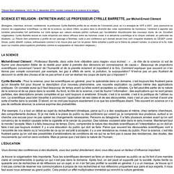 SCIENCE ET RELIGION : ENTRETIEN AVEC LE PROFESSEUR CYRILLE BARRETTE, par Michel-Ernest Clément