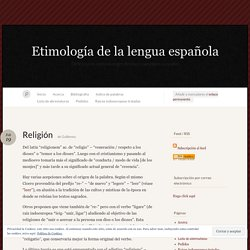 Religión « Etimología de la lengua española