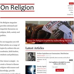 On Religion – The UK's first magazine about faith, religion and society