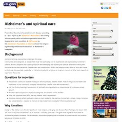 Alzheimer's and spiritual care