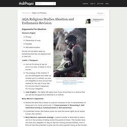 AQA Religious Studies Unit 01 - Religion & Ethics - Abortion and Euthanasia