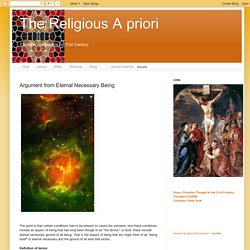 The Religious A priori: Argument from Eternal Necessary Being