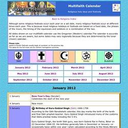 Religious Festivals Calendar
