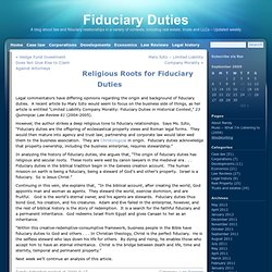 Religious Roots for Fiduciary Duties