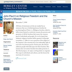 John Paul II on Religious Freedom and the Church's Mission