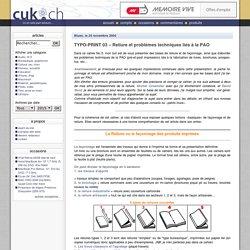 TYPO-PRINT 03 – Reliure et problèmes techniques liés à la PAO