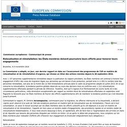 Relocalisation et réinstallation: les États membres doivent poursuivre leurs efforts pour honorer leurs engagements
