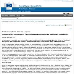 Relocalisation et réinstallation: les États membres doivent s'appuyer sur des résultats encourageants