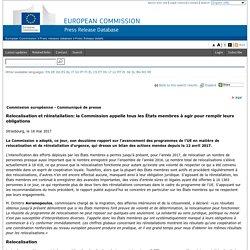 Relocalisation et réinstallation: la Commission appelle tous les États membres à agir pour remplir leurs obligations