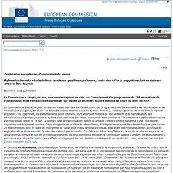 Bruxelles 13 juillet 2016 - Relocalisation et réinstallation: tendance positive confirmée, mais des efforts supplémentaires doivent encore être fournis