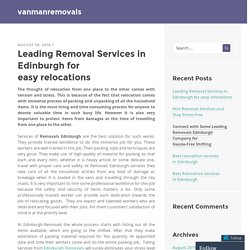 The most trusted removal services in Edinburgh