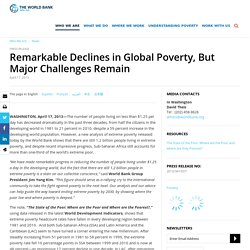 Remarkable Declines in Global Poverty, But Major Challenges Remain