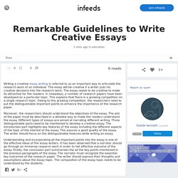 Remarkable Guidelines to Write Creative Essays by /u/giselle