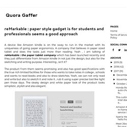 reMarkable : paper style gadget is for students and professionals seems a good approach