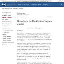 Remarks by the President on Trayvon Martin