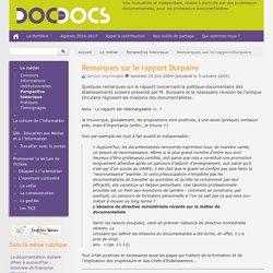 Remarques sur le rapport Durpaire - Doc pour docs