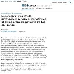 Remdesivir : des effets indésirables rénaux et hépatiques chez les premiers patients traités en France