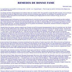 REMEDES DE BONNE FAME