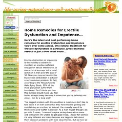 At Last! Proven Home Remedies for Erectile Dysfunction...