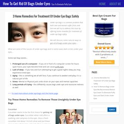 Home Remedies For Treatment Of Under Eye Bags