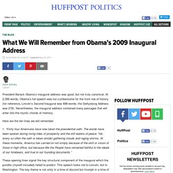 What We Will Remember from Obama's 2009 Inaugural Address