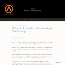 Things to Remember while Making a Medical App – Applify