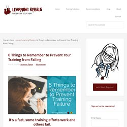 6 Things to Remember to Prevent Your Training from Failing - Learning Rebels